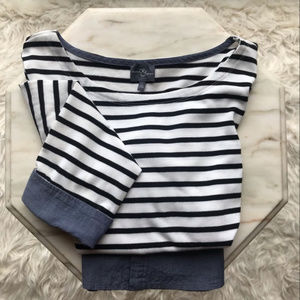 Market&Spruce Black and White Stripe Denim Trim